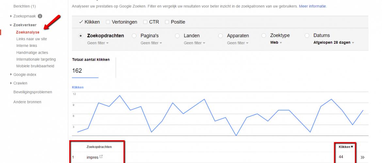 De zoekanalyse van Google Search Console weet waarop je gevonden wordt 1