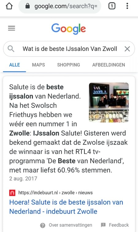 Voice search lokaal
