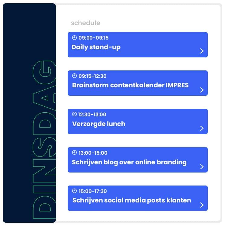 stagiair content marketing  impres vacature schedule graphic
